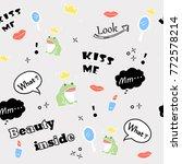 frog crown girly seamless...   Shutterstock .eps vector #772578214
