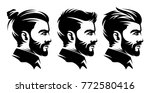 set barbershop men hairstyle... | Shutterstock .eps vector #772580416