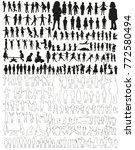 large collection of silhouettes ... | Shutterstock .eps vector #772580494