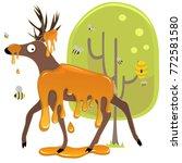 honey deer with bees... | Shutterstock . vector #772581580