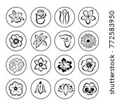 16 flower icon set. black... | Shutterstock .eps vector #772583950