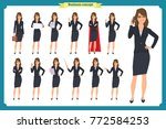 set of young businesswoman... | Shutterstock .eps vector #772584253