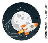 rocket flies around the moon... | Shutterstock .eps vector #772584289