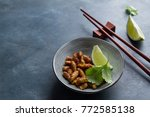 fried insects  wood worm insect ...   Shutterstock . vector #772585138