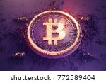 gold symbol bitcoin consisting... | Shutterstock . vector #772589404