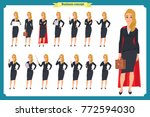 set of young businesswoman... | Shutterstock .eps vector #772594030