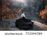 a girl in a vintage dress is... | Shutterstock . vector #772594789