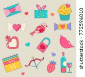 set of  holiday stickers for... | Shutterstock .eps vector #772596010