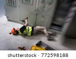 accident at work of electrician ... | Shutterstock . vector #772598188