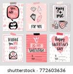 valentine s day card set   hand ...   Shutterstock .eps vector #772603636