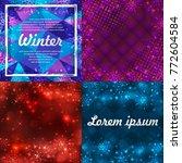set of four winter backgrounds. ... | Shutterstock .eps vector #772604584