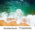 top view of a deserted beach.... | Shutterstock . vector #772609693