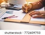 team of engineers working... | Shutterstock . vector #772609753