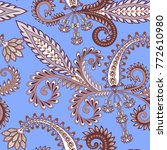 seamless pattern with paisley ... | Shutterstock .eps vector #772610980