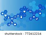 medical icon in hexagonal... | Shutterstock . vector #772612216