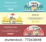 set of tricycle bike with sales ... | Shutterstock . vector #772618648