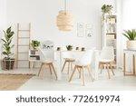 big wicker lampshade hanging... | Shutterstock . vector #772619974