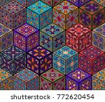 colorful vintage seamless... | Shutterstock .eps vector #772620454