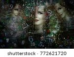 universe numerology and woman... | Shutterstock . vector #772621720