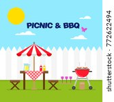 background of picnic   bbq scene | Shutterstock .eps vector #772622494