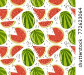 watermelon seamless pattern ...   Shutterstock .eps vector #772623064