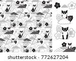 shiba inu seamless pattern in... | Shutterstock .eps vector #772627204