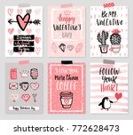 valentine s day card set   hand ... | Shutterstock .eps vector #772628473