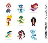 kids in colorful superhero... | Shutterstock .eps vector #772628764