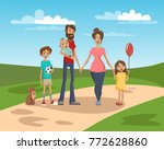 happy family on a background of ... | Shutterstock .eps vector #772628860