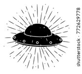 vector illustration with a ufo... | Shutterstock .eps vector #772629778