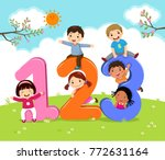cartoon kids with 123 numbers | Shutterstock .eps vector #772631164