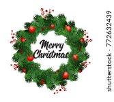 vector winter decoration of fir ... | Shutterstock .eps vector #772632439