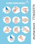 wash hands step by step vector | Shutterstock .eps vector #772632574