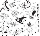 playing dogs seamless pattern....   Shutterstock .eps vector #772633828