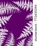 fern frond frame vector... | Shutterstock .eps vector #772635394