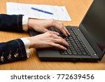 young woman hands using a... | Shutterstock . vector #772639456