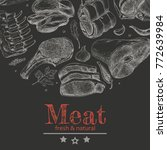 vector background with meat... | Shutterstock .eps vector #772639984