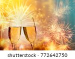 glasses with champagne against... | Shutterstock . vector #772642750
