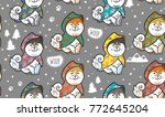 seamless pattern with cute... | Shutterstock .eps vector #772645204