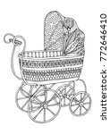retro baby stroller. hand drawn ... | Shutterstock .eps vector #772646410