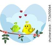 cute green and yellow birds... | Shutterstock .eps vector #772650064