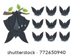 bat sleeping  hanging upside... | Shutterstock .eps vector #772650940