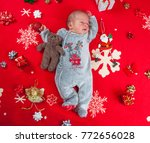 christmas newborn baby boy | Shutterstock . vector #772656028