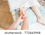close to the female hands of...   Shutterstock . vector #772663948