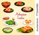 malaysian cuisine icon of asian ... | Shutterstock .eps vector #772664080