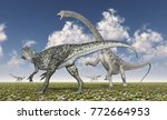 allosaurus attacks diplodocus... | Shutterstock . vector #772664953