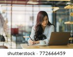 business woman is working on a...   Shutterstock . vector #772666459