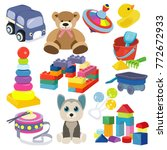 cartoon baby toy set. cute... | Shutterstock .eps vector #772672933