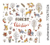 vector forest christmas set....   Shutterstock .eps vector #772675126
