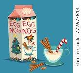 christmas eggnog in carton... | Shutterstock .eps vector #772677814